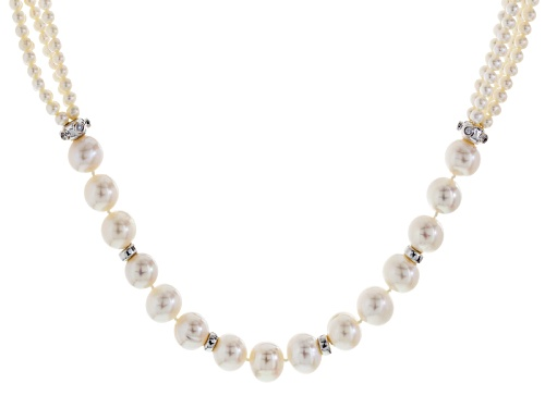 "Photo of 3-13mm White Cultured Freshwater Pearl With 0.6ctw Bella Luce® Rhodium Over Silver 18"" Necklace - Size 18"