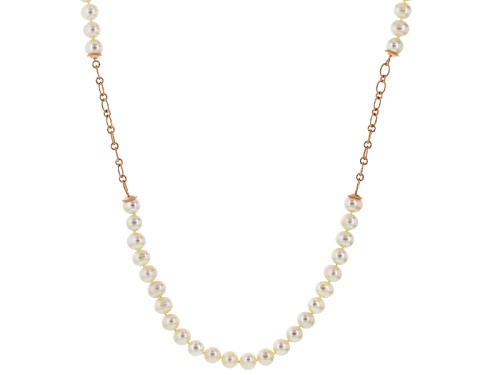 Photo of 9-10mm White Cultured Freshwater Pearl 18k Rose Gold Over Sterling Silver 36 Inch Station Necklace - Size 36