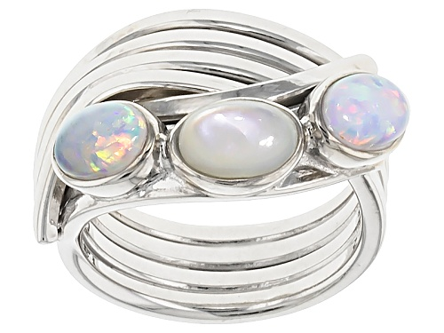 Photo of 4-6mm White Mother-Of-Pearl With 0.5ctw Lab-Created Opal Rhodium Over Silver Ring - Size 5