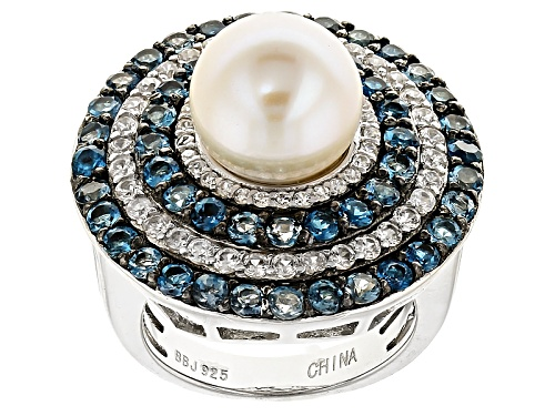 Photo of 9.5-10mm Cultured Freshwater Pearl & 1.93ctw Blue Topaz & .88ctw Zircon Rhodium Over Silver Ring - Size 11