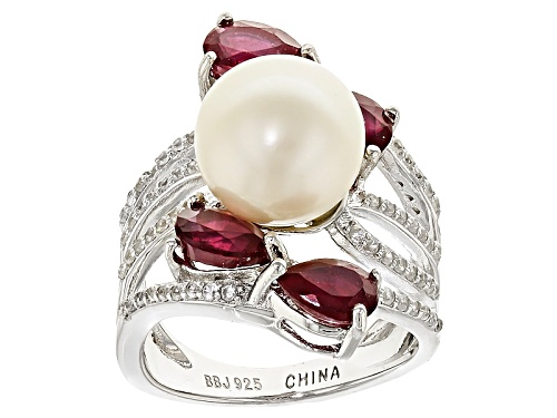 Photo of 9.5-10mm Cultured Freshwater Pearl & 2.32ctw Mahaleo Ruby & .56ctw Zircon Rhodium Over Silver Ring - Size 12