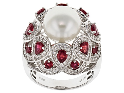 Photo of 11.5-12mm Cultured Freshwater Pearl/Mahaleo Ruby/Zircon Rhodium Over Silver Ring - Size 12