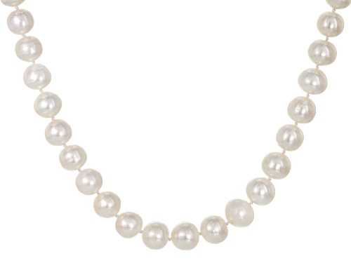 Photo of 13-15mm White Cultured Freshwater Pearl Rhodium Over Sterling Silver 22 Inch Strand Necklace - Size 22