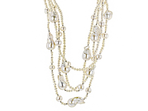 Photo of 3-20mm White Cultured Freshwater Pearl Rhodium Over Sterling Silver Multi-Strand Necklace - Size 18
