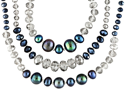 Photo of 6-8.5mm Black Cultured Freshwater Pearl With Blue & Gray Crystal Rhodium Over Silver Necklace - Size 26