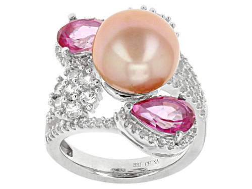 Photo of 9.5-10mm Cultured Freshwater Pearl With Pink Topaz, And  Zircon Rhodium Over Sterling Silver Ring - Size 5