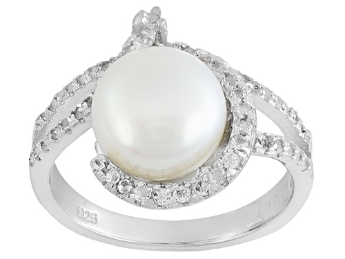 Photo of 9-10mm White Cultured Freshwater Pearl With .48ctw Round White Topaz Rhodium Over Silver Ring - Size 11
