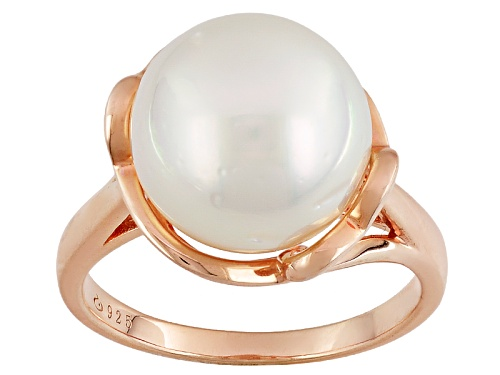 Photo of 11mm White Cultured South Sea Pearl 18k Rose Gold Over Sterling Silver Solitaire Ring - Size 12