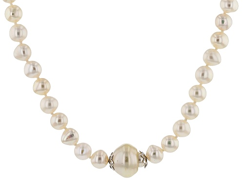 Photo of 7-8mm Cultured Freshwater Pearl And 13-15mm South Sea Pearl Rhodium Over Silver Necklace - Size 20