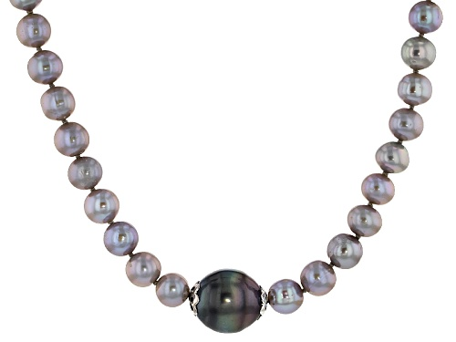 Photo of 7-8mm Cultured Freshwater Pearl And 13-15mm  Tahitian Pearl Rhodium Over Silver Necklace - Size 20