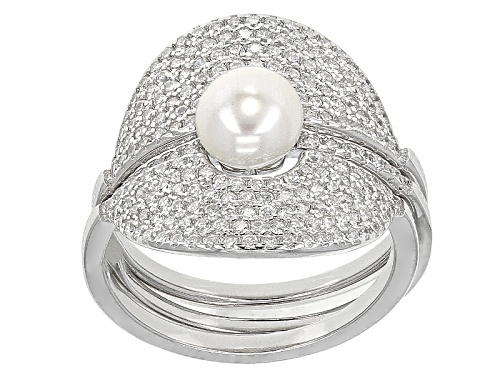 Photo of 6-7mm Cultured Freshwater Pearl With 1.20ctw Bella Luce® Rhodium Over Silver Wrap Ring Set - Size 10