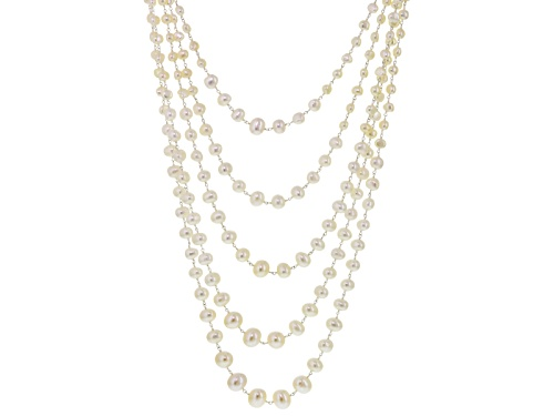 Photo of 6-11mm White Cultured Freshwater Pearl Rhodium Over Sterling Silver Multi-Strand Necklace - Size 18