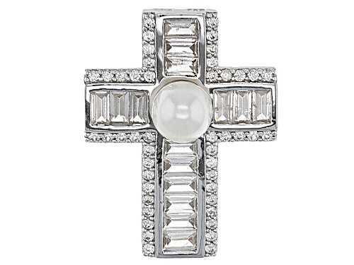 Photo of 6-6.5mm White Cultured Freshwater Pearl With .89ctw White Zircon Rhodium Over Silver Cross Pendant