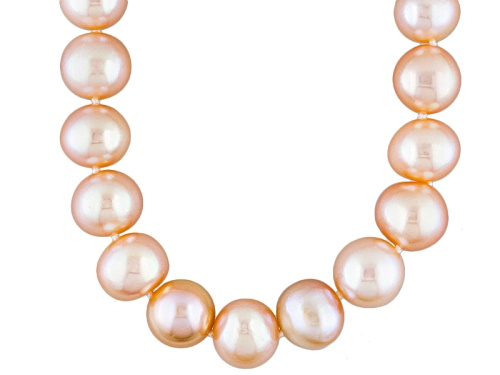 Photo of 9.5-11mm Natural Peach Cultured Freshwater Pearl 14k Yellow Gold Strand Necklace - Size 18