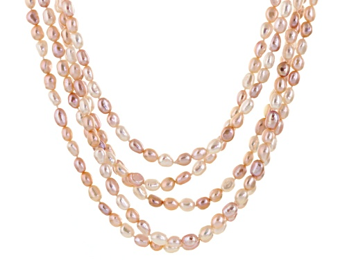 Photo of 5-6mm Cultured Freshwater Pearl Rhodium Over Sterling Silver Multi-Strand Necklace - Size 18