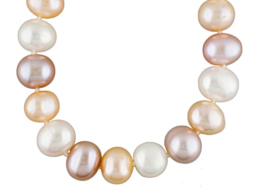 Photo of 9-10mm Natural Pink, Peach, White Cultured Freshwater Pearl Rhodium Over Silver Strand Necklace - Size 18
