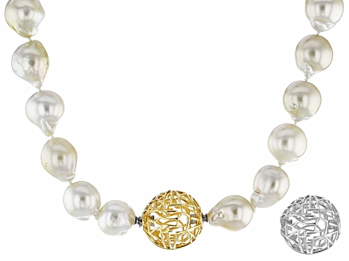 Photo of 11-13mm Cultured South Sea Pearl Rhodium & 18k Yellow Gold Over Sterling Silver Strand Necklace - Size 18