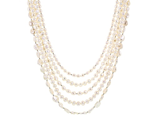 Photo of 6-13mm Cultured Freshwater Pearl With .71ctw Bella Luce ® Rhodium Over Sterling Silver Necklace - Size 20