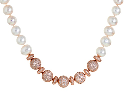 Photo of 10-11mm Cultured Freshwater Pearl With 13.72ctw Bella Luce ® 18k Rose Gold Over Silver Necklace - Size 18