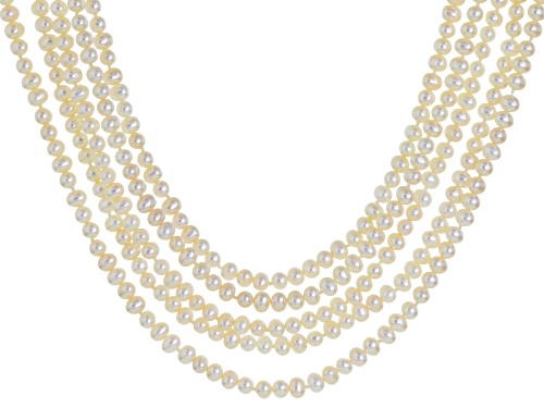 Photo of 4.5-5mm White Cultured Freshwater Pearl Rhodium Over Sterling Silver Five-Strand Necklace - Size 18