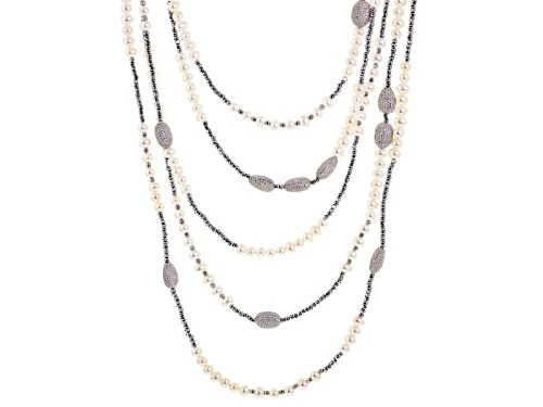 Photo of 5.5-6mm Cultured Freshwater Pearl, 14.52ctw Bella Luce ® & Hematine Rhodium Over Silver Necklace - Size 20