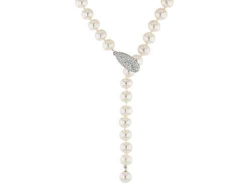 Photo of 8-9mm Cultured Freshwater Pearl .83ctw Bella Luce® Rhodium Over Sterling Silver 44 Inch Necklace - Size 44
