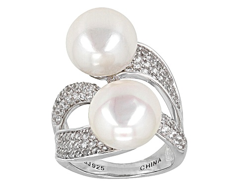 Photo of 11.5-12mm White Cultured Freshwater Pearl With 1.74ctw Zircon Rhodium Over Silver Cocktail Ring - Size 7
