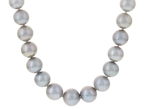 Photo of Genusis Pearls™ 11-14mm Gray Cultured Freshwater Pearl Rhodium Over Silver Strand Necklace - Size 20