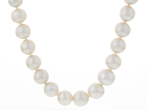 Photo of Genusis Pearls™ 11-14mm White Cultured Freshwater Pearl Rhodium Over Silver Strand Necklace - Size 20