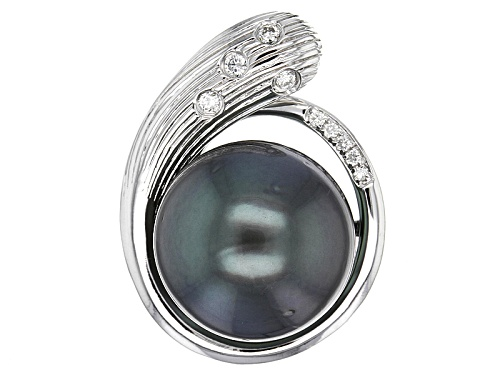 Photo of 12mm Cultured Tahitian Pearl With .05ctw Round Diamond Accent Rhodium Over Sterling Silver Pendant