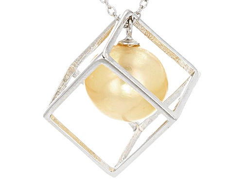 Photo of 11-12mm Golden Cultured South Sea Pearl Rhodium Over Sterling Silver 18 Inch Necklace - Size 18