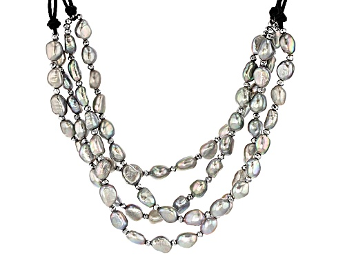 "Photo of 7-8mm Cultured Freshwater Pearl/Hematine Rhodium Over Silver 18"" Leather Cord Multi-Strand Necklace - Size 18"