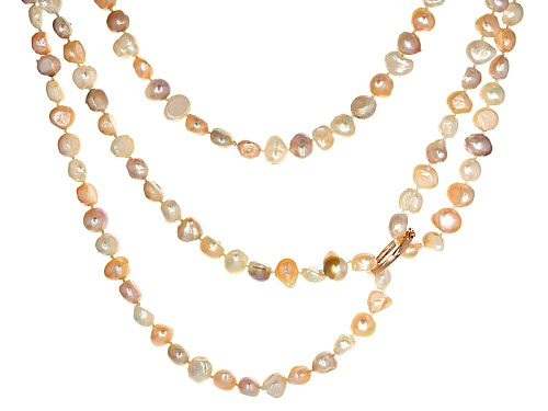 Photo of 9-10mm Cultured Freshwater Pearl Endless Strand 60 Inch Necklace With Rhodium Over Silver Shortener - Size 60