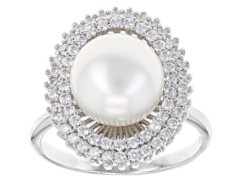 Photo of 10mm White Cultured Freshwater Pearl With 1.09ctw Bella Luce® Rhodium Over Sterling Silver Ring - Size 11