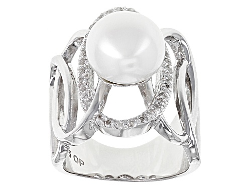 Photo of 11-11.5mm White Cultured Freshwater Pearl With 0.61ctw White Topaz Rhodium Over Sterling Silver Ring - Size 4