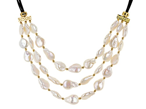 "Photo of 13-14mm Cultured Freshwater Pearl 18k Yellow Gold Over Silver Multi-Strand Leather Cord 18"" Necklace - Size 18"