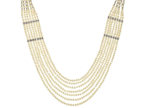 Photo of 3-4.5mm/8-8.5mm Cultured Freshwater Pearl Rhodium Over Sterling Silver Multi-Strand 30 Inch Necklace - Size 30