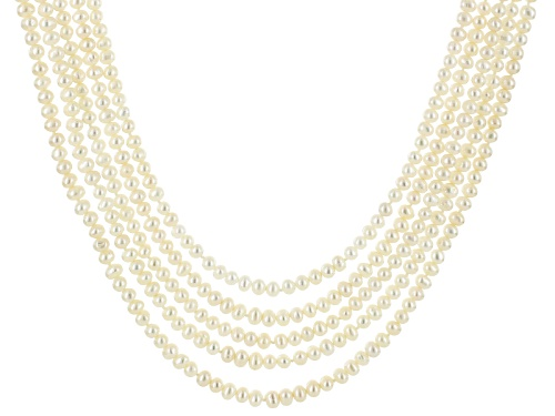 Photo of 4-5.5mm White Cultured Freshwater Pearl Rhodium Over Sterling Silver Multi-Strand 20 Inch Necklace - Size 20