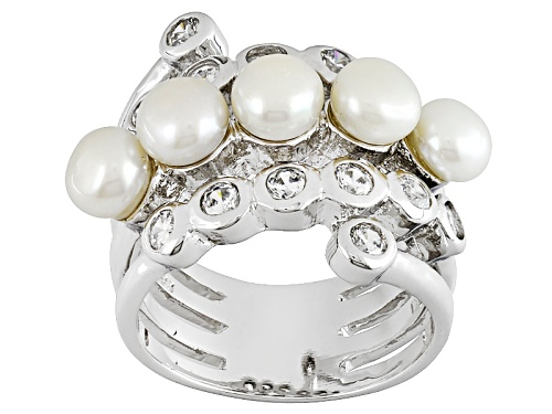 Photo of 5mm White Cultured Freshwater Pearl With 1.40ctw Bella Luce® Rhodium Over Sterling Silver Ring - Size 6