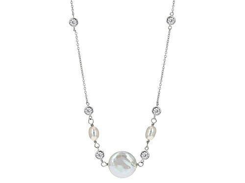 """Photo of 5-5.5mm/13-15mm Cultured Freshwater Pearl & 0.35ctw Bella Luce® Rhodium Over Silver 38"""" Necklace - Size 38"""