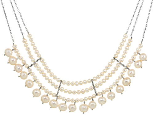 Photo of 5-9.5mm Cultured Freshwater Pearl Rhodium Over Sterling Silver 18 Inch Necklace With 2 Inch Extender - Size 18