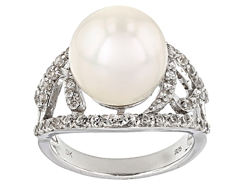Photo of 12-13mm White Cultured Freshwater Pearl With 1.20ctw White Zircon Rhodium Over Sterling Silver Ring - Size 12