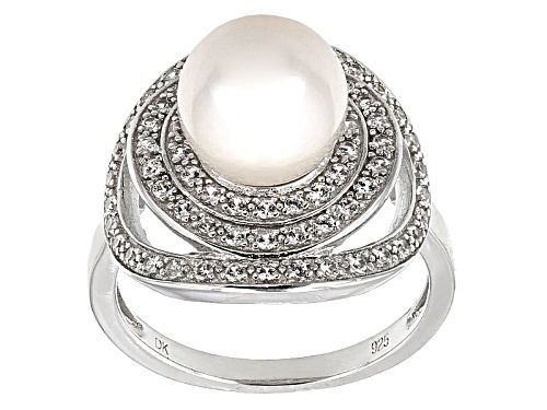 Photo of 9-9.5mm White Cultured Freshwater Pearl With 0.39ctw Zircon Rhodium Over Sterling Silver Halo Ring - Size 10