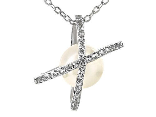 "Photo of 7.5-8mm Cultured Japanese Akoya Pearl With 0.19ctw Topaz Rhodium Over Silver Pendant With 18"" Chain"