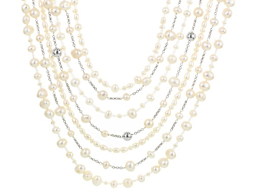 "Photo of 3.5-8mm White Cultured Freshwater Pearl Rhodium Over Sterling Silver 22"" Multi-Strand Necklace - Size 22"