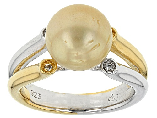 Photo of 10mm Golden Cultured South Sea Pearl & White Topaz Rhodium & 18k Yellow Gold Over Silver Ring - Size 10