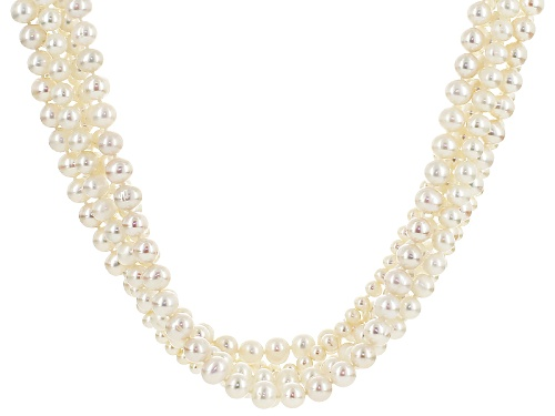 Photo of 5-8mm White Cultured Freshwater Pearl Rhodium Over Sterling Silver Multi-Strand 20 Inch Necklace - Size 20