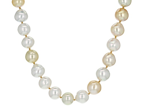 Photo of 9-12mm Golden & White Cultured South Sea Pearl, Rhodium Over Sterling Silver 24 Inch Necklace - Size 24