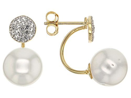 Photo of 9-10mm Cultured South Sea Pearl & .30ctw White Topaz 18k Yellow Gold & Rhodium Over Silver Earrings