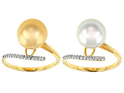 Photo of 10mm White & Golden Cultured South Sea Pearl & White Topaz 18k Yellow Gold Over Silver Ring Set Of 2 - Size 11